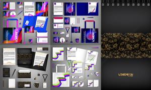 工作牌与资料夹等视觉元素矢量素材