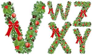 圣诞蝴蝶结装饰字母创意矢量素材V01