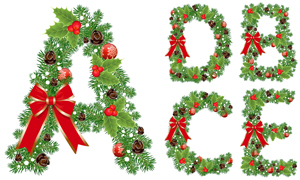 圣诞蝴蝶结装饰字母创意矢量素材V02