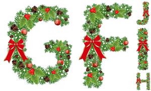 圣诞蝴蝶结装饰字母创意矢量素材V03