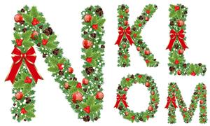 圣诞蝴蝶结装饰字母创意矢量素材V04