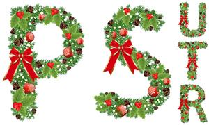 圣诞蝴蝶结装饰字母创意矢量素材V05