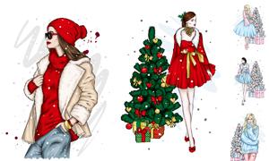 圣诞树与服饰模特人物设计矢量素材