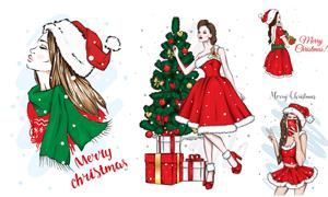 圣誕節服飾的美女人物主題矢量素材