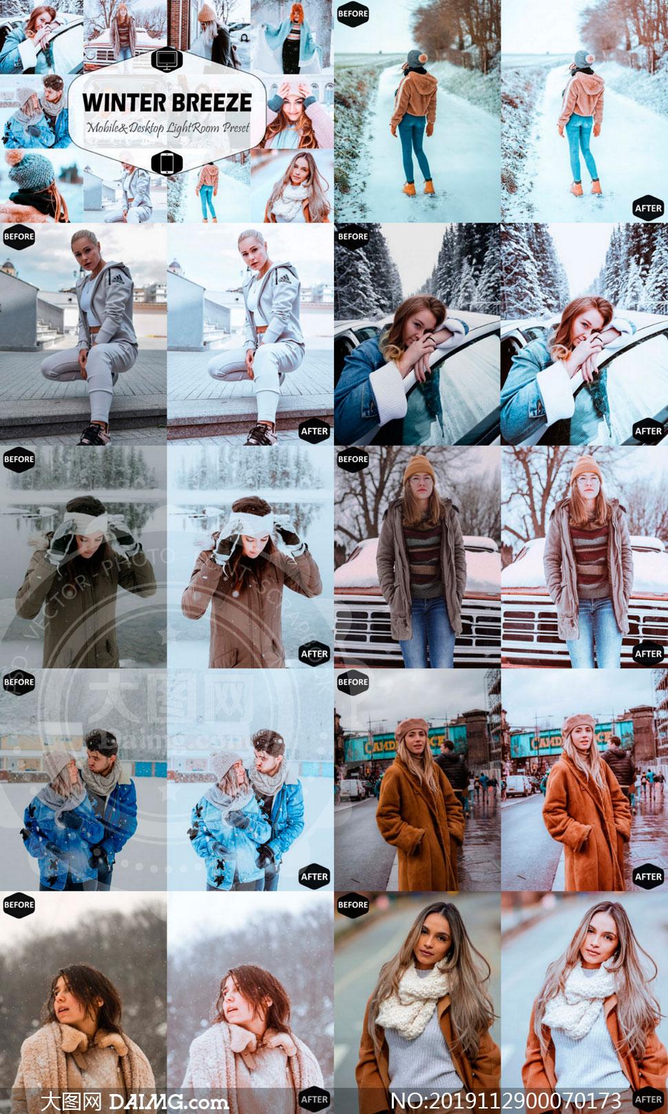 冬季人像蓝色唯美艺术效果LR预设