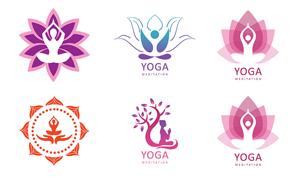 瑜伽体式女性人物剪影标志矢量素材