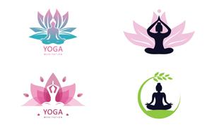打坐姿势瑜伽人物元素标志矢量素材