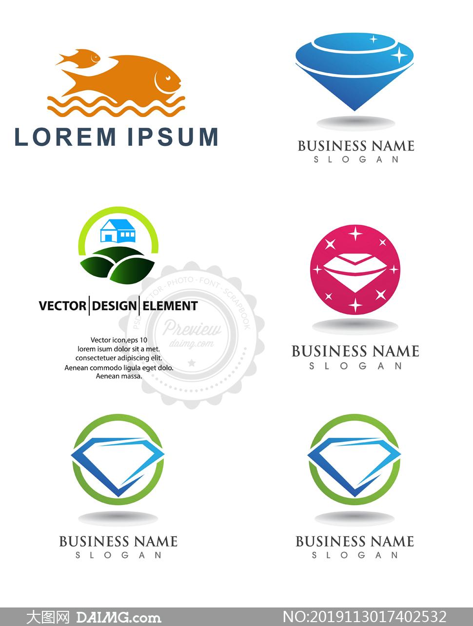 钻石与游鱼等图案标志设计矢量素材