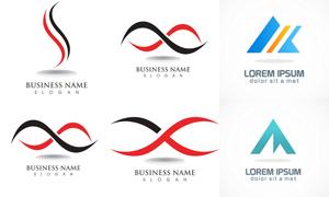 红黑曲线元素等标志创意设计矢量图