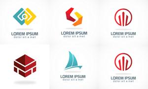 帆船等图案元素标志创意设计矢量图