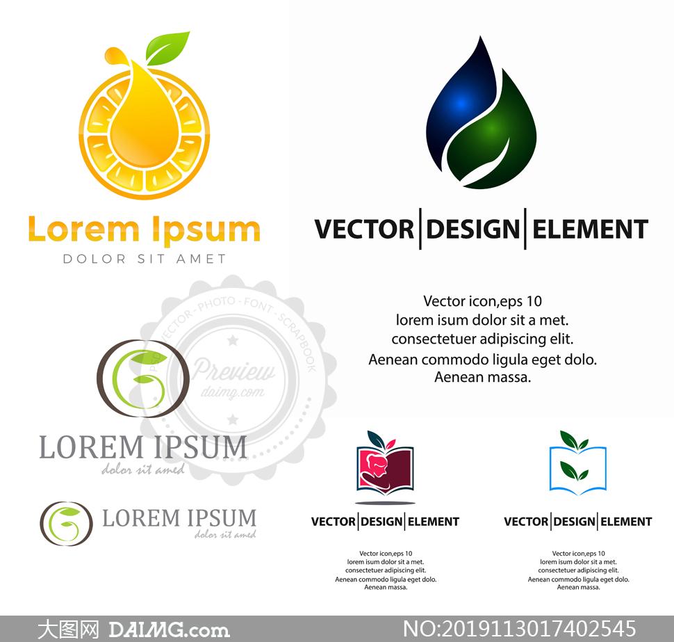 叶子元素等创意标志主题设计矢量图