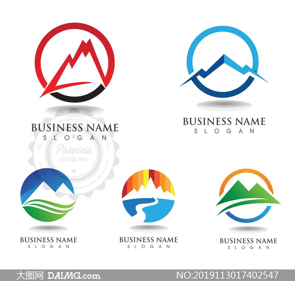 圆形与山峰等图案创意标志矢量素材