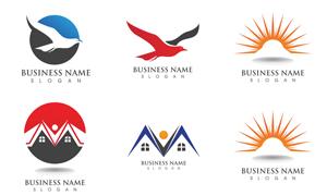 飞鸟与房子等元素标志创意矢量素材