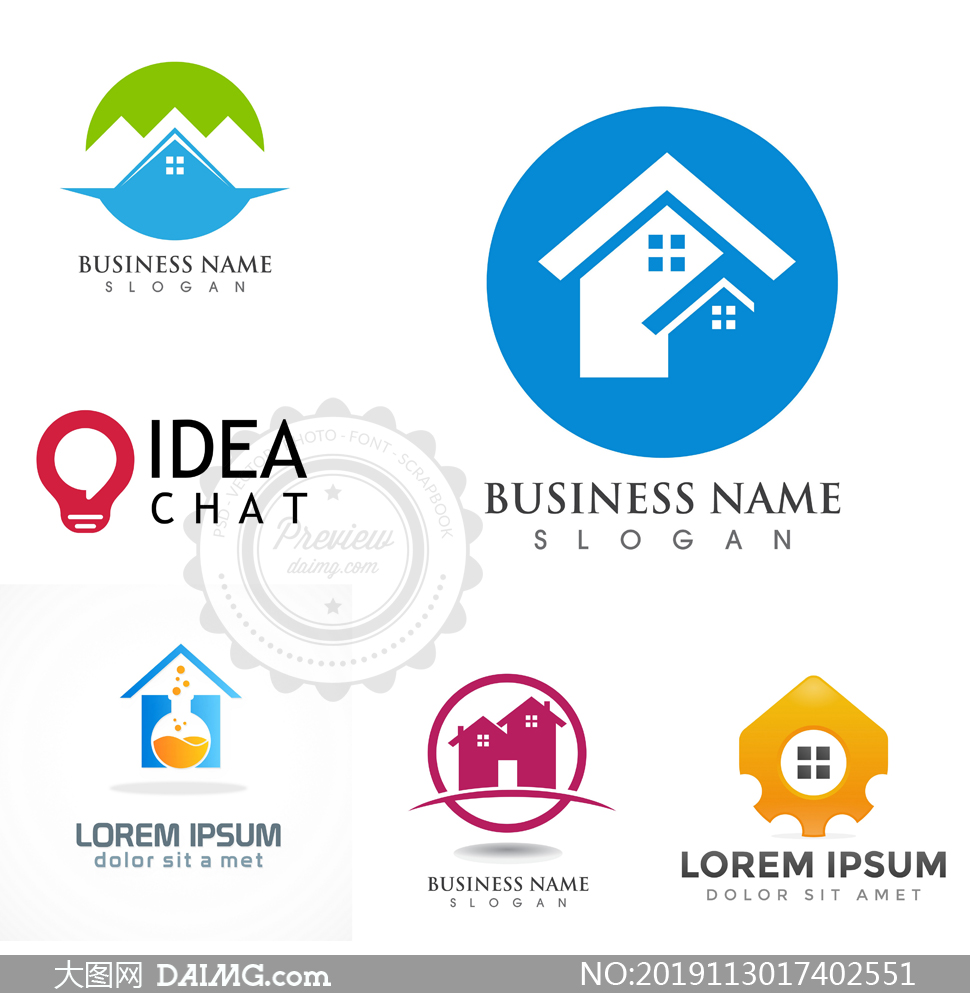 房屋与灯泡等元素标志创意矢量素材