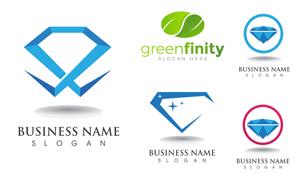 几何图案与绿叶等标志设计矢量素材