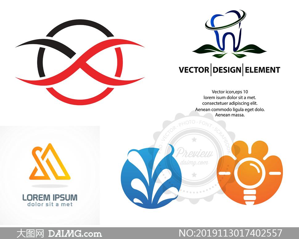 牙齿健康等主题标志创意设计矢量图