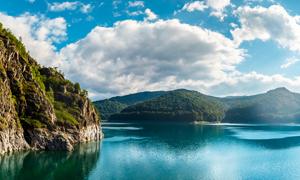 蓝天云朵湖光山色风景摄影高清图片