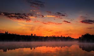 晚霞树林与在水面上的雾气摄影图片