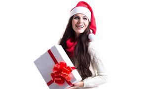 头戴圣诞帽的长发美女摄影高清图片