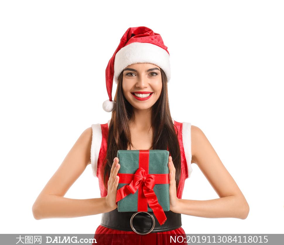 红色喜庆圣诞装扮美女摄影高清图片
