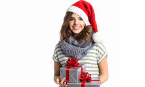 针织圣诞帽装扮的秀发美女摄影图片