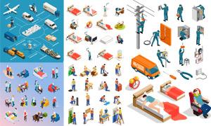 装修工人与电工等创意设计矢量素材