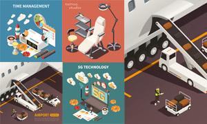 时间管理与通信技术等创意矢量素材