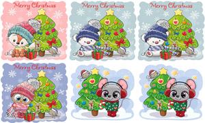 圣诞树与卡通小动物等创意矢量素材