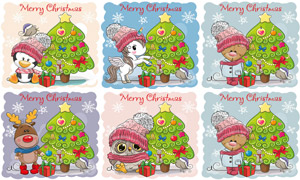 圣诞树礼物盒与卡通小动物矢量素材