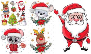 老鼠小熊与圣诞树创意设计矢量素材