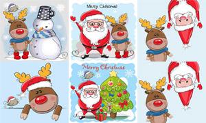 驯鹿小鸟与圣诞老人等创意矢量素材