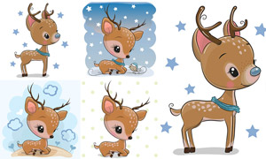 星星与卡通可爱梅花鹿创意矢量素材