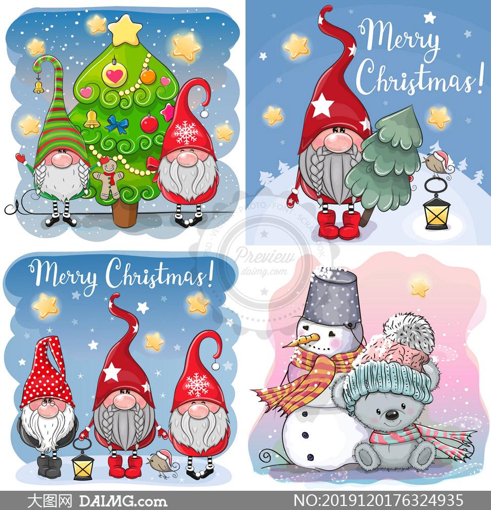 圣诞老人与雪人小熊等创意矢量素材