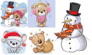 圣诞节可爱小熊与雪人创意矢量素材
