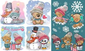 卡通创意圣诞老人与雪人等矢量素材