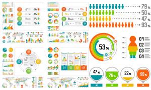 多种数据统计表现形式图表矢量素材