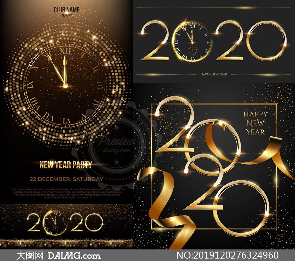 时钟与金色光效立体字创意矢量素材