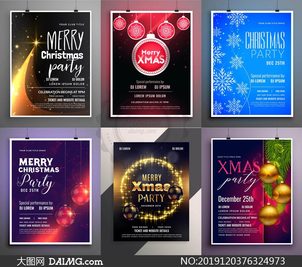 星光雪花与挂球圣诞节海报矢量素材