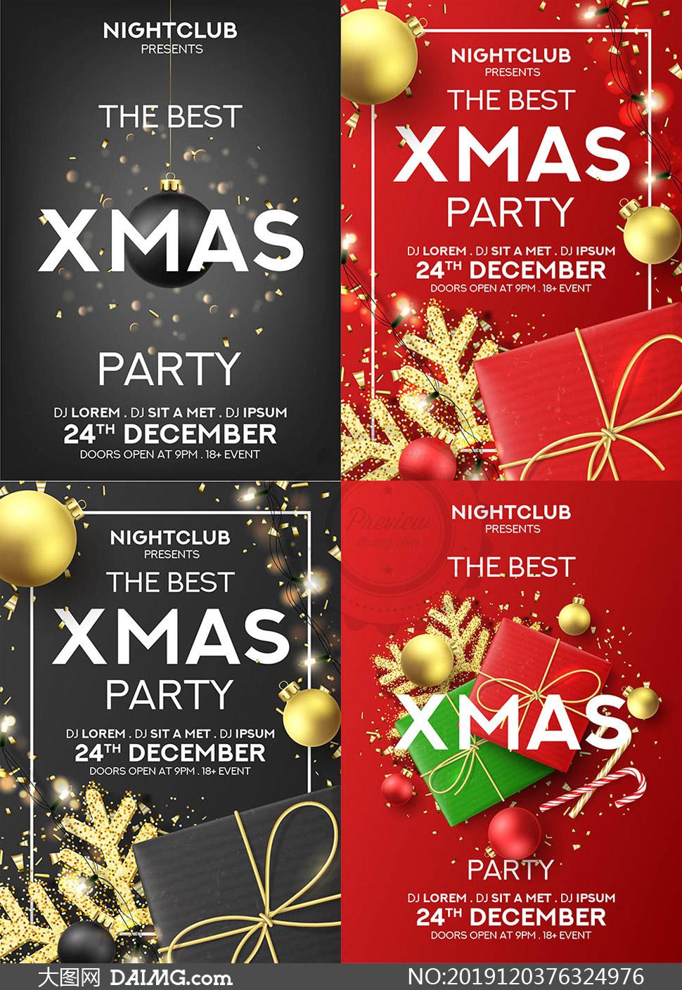 红黑两种配色的圣诞节海报矢量素材