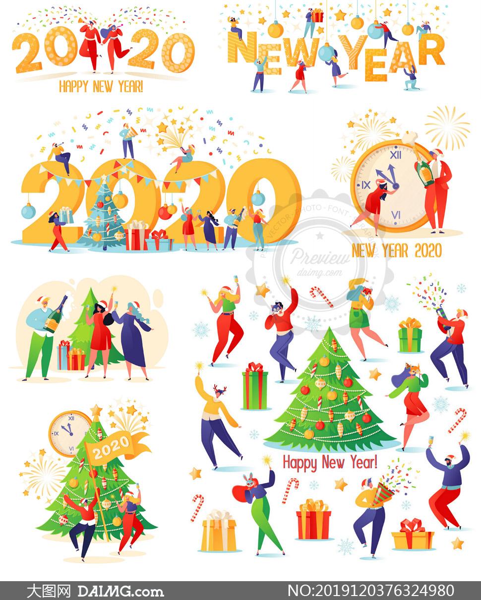 扁平化人物元素的圣诞新年矢量素材