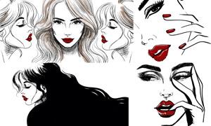 紅唇美女人物繪畫創意設計矢量素材