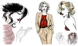 手繪模特人物插畫創意設計矢量素材