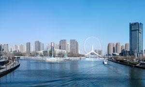 海河三叉河口全景攝影圖片