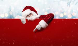 梦幻光斑与圣诞老人的手势创意图片