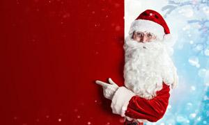 红色背景与圣诞老人等创意高清图片