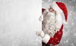 雪花光斑背景与圣诞老人等创意图片
