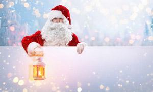 手提着灯笼的圣诞老人创意高清图片