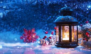 星光雪花与圣诞节灯笼摄影高清图片