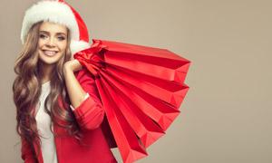 圣诞装扮购物美女人物摄影高清图片
