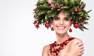 树枝红星头饰美女人物摄影高清图片